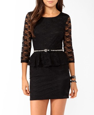 attractive-and-fashionable-lace-peplum-dress