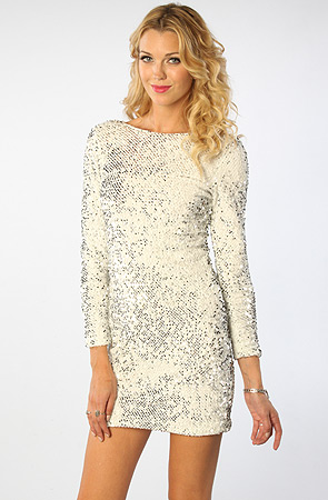 Stunning  White Sequin Dress