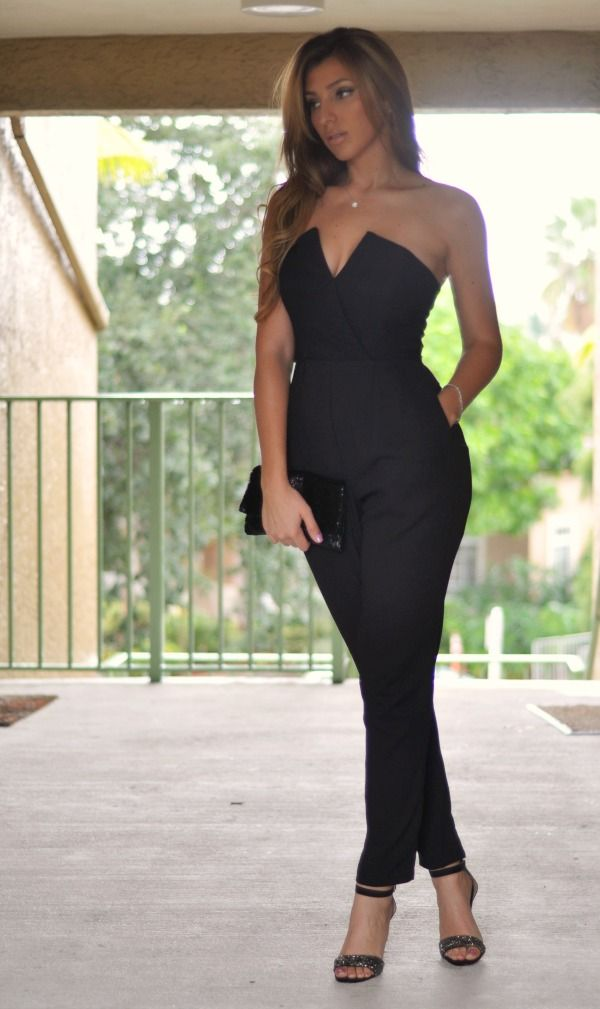 4 points of choosing  Black Strapless Jumpsuits
