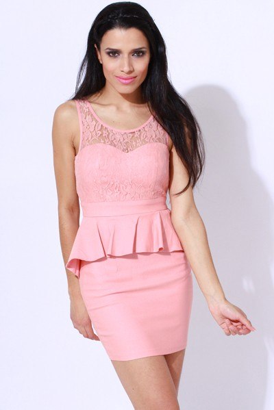 Attractive and fashionable  Lace Peplum Dress