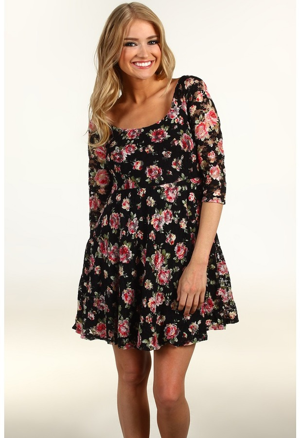 Cheap  Floral Skater Dress
