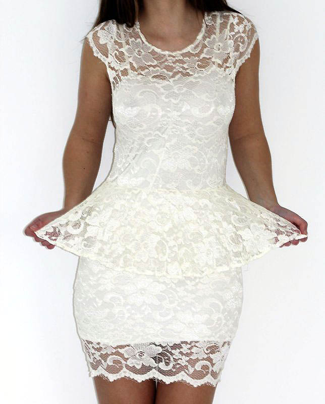 Different shades of  White Peplum Dress