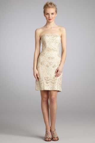champagne lace cocktail dress