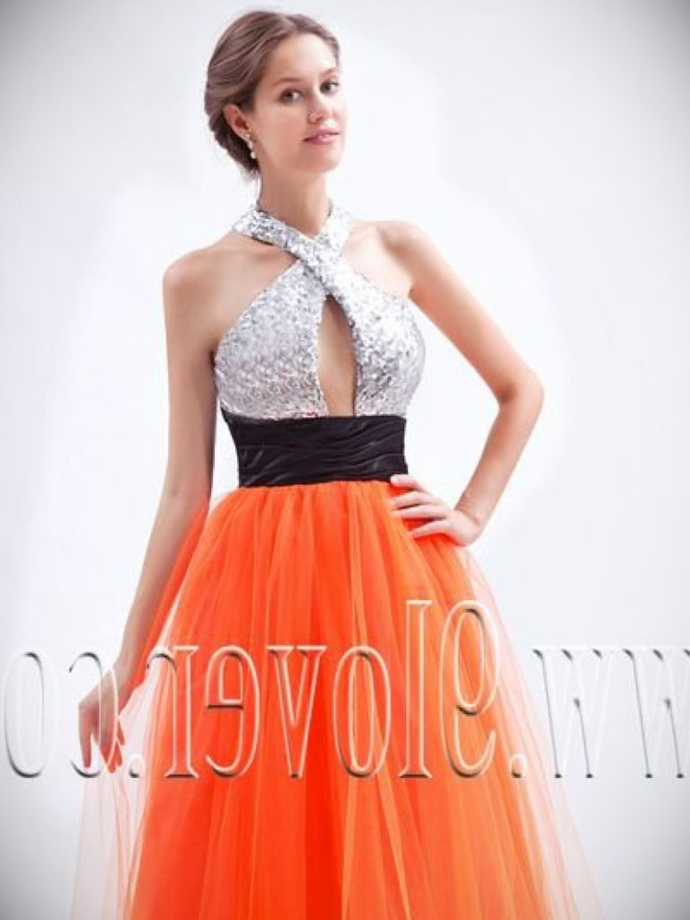 Orange And Silver Prom Dress