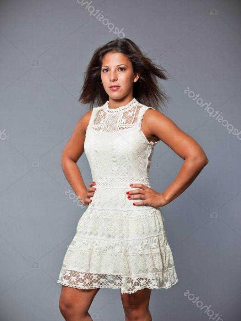 Pretty Girl In White Dress & New Fashion Collection