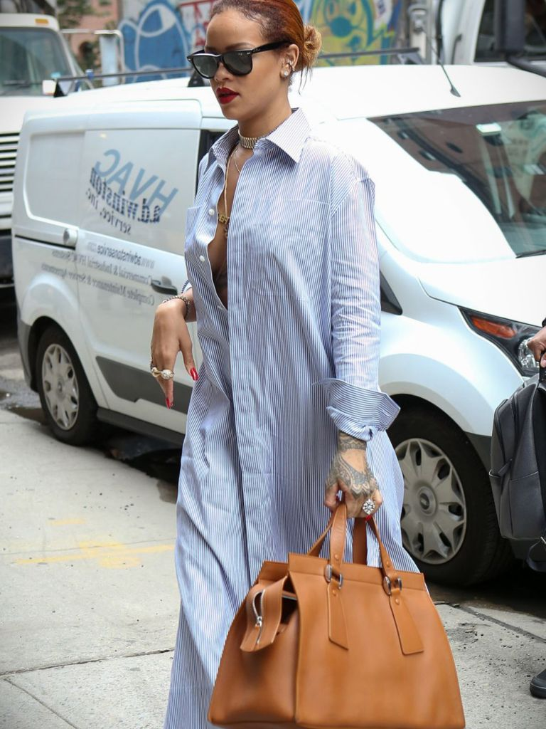 Rihanna White Shirt Dress And Clothing Brand Reviews