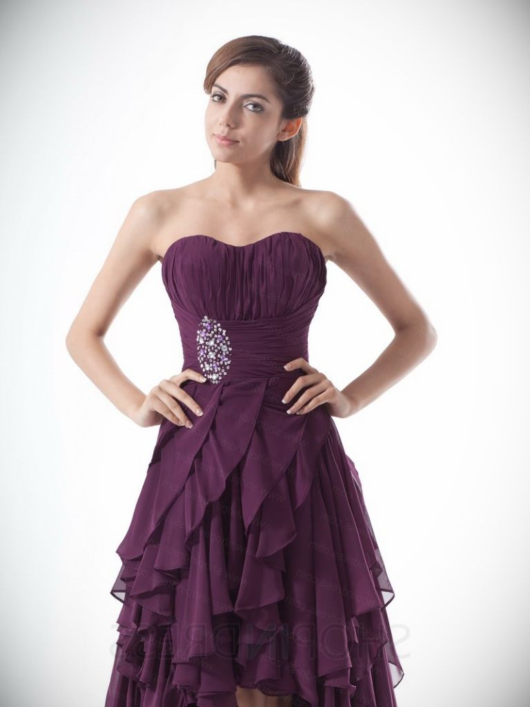 Silver And Purple Prom Dress