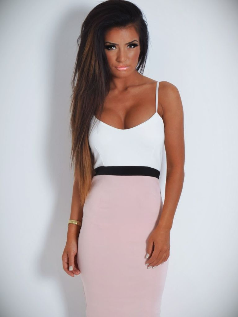Valentina Navy and White Lace Midi Dress - Pink Boutique UK