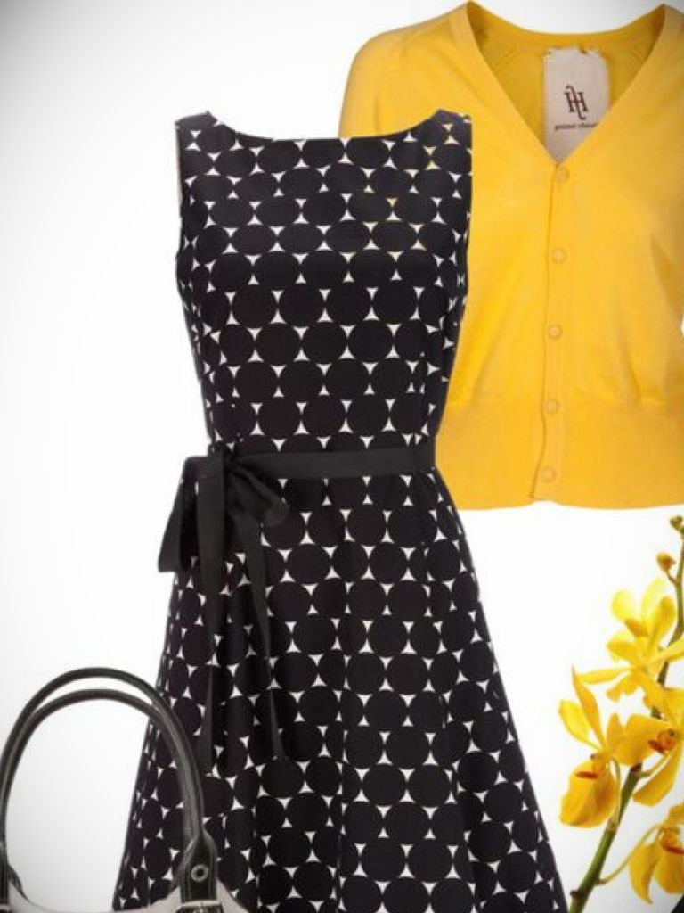 White Dress With Black Dots & Spring  Style