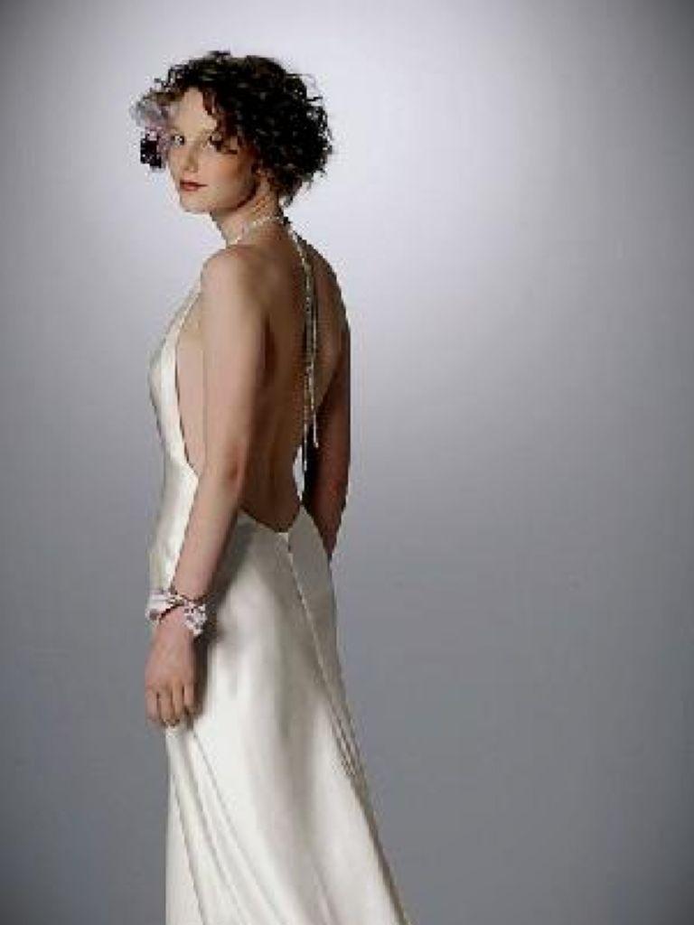 Cowl Neck Sheath Wedding Dress
