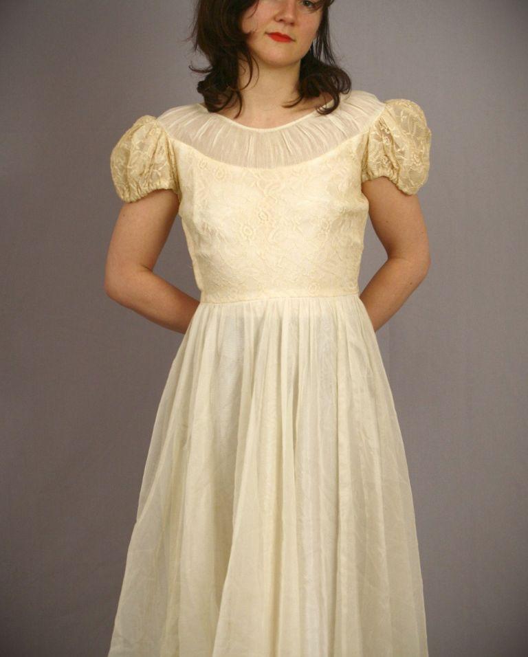 Cream Mid Length Dress: Make Your Evening Special