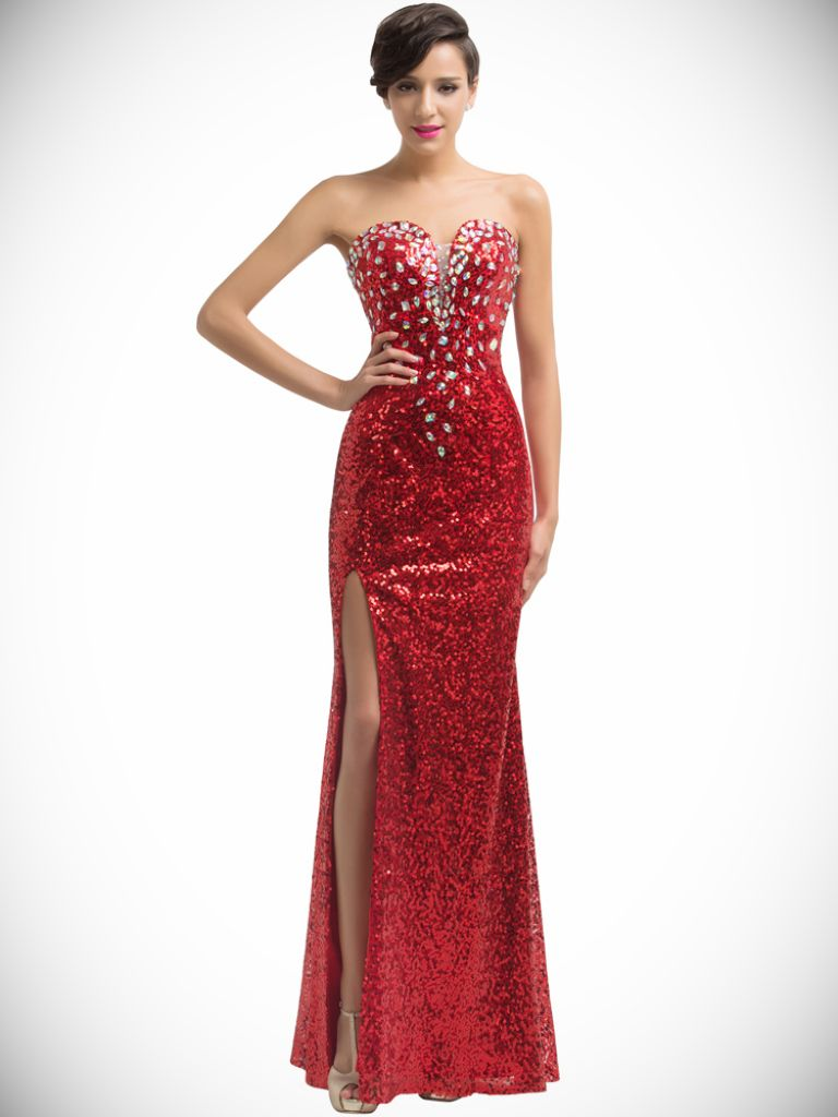 Long Red Sequin Dress Strapless - 24 Dressi