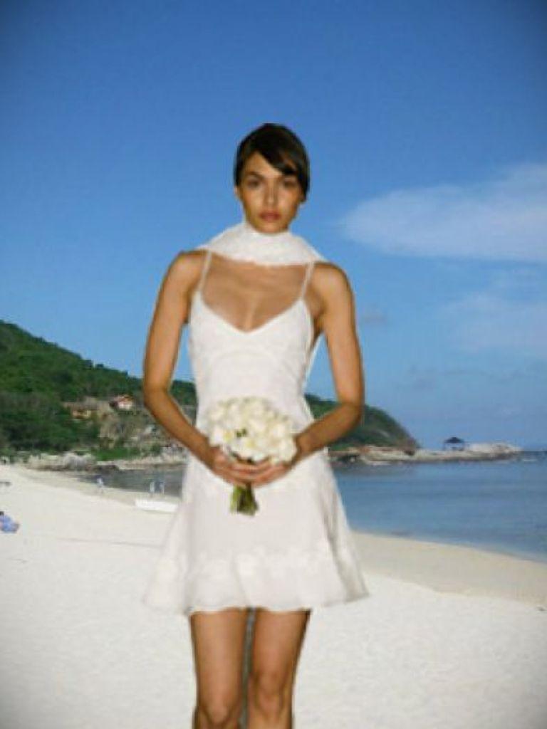 Short Chiffon Beach Wedding Dress